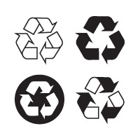Recyclable, recycling logo vector download free