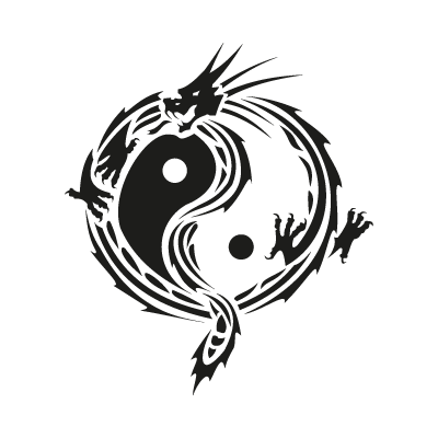Yin yang dragon logo