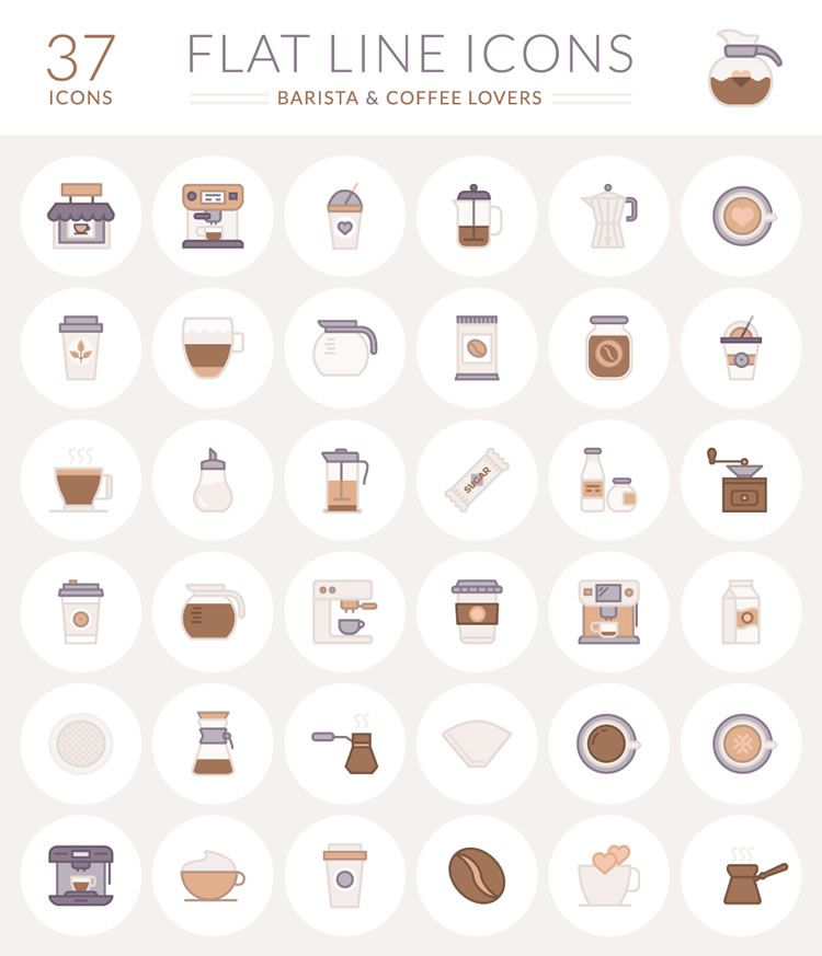 Coffee Flat Icon logo