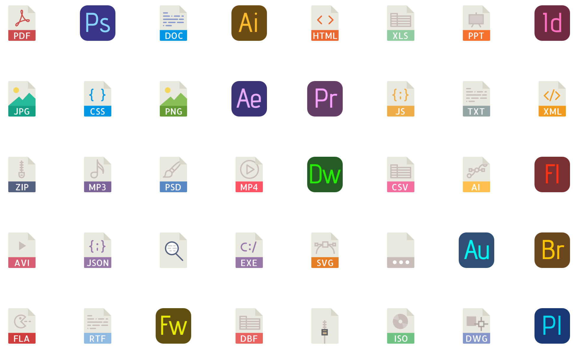 40 File types color vector icons