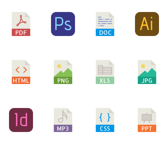 40 File types color icons logo
