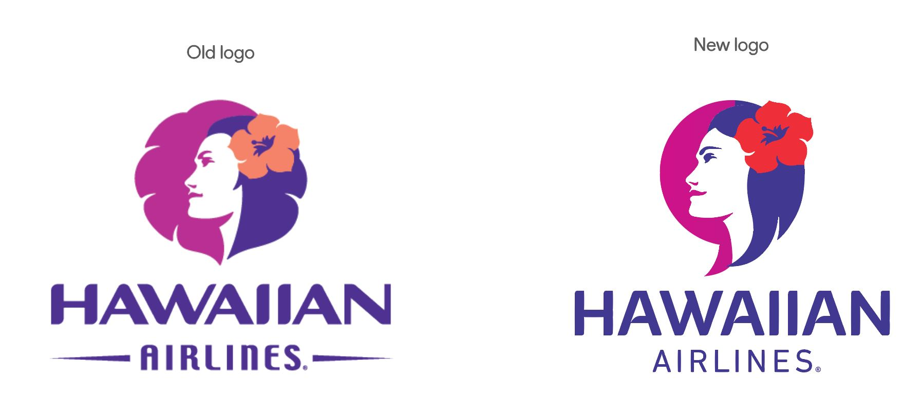 Hawaiian Airlines logo old and new